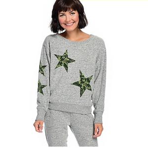 Theo & Spence Brushed Knit Long Dolman Sleeve Jumbo Star Screen Printed Pullover