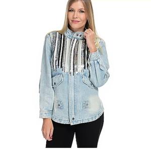 mōd x Sequin Dripped Denim Long Sleeve Zip Front Anorak Jacket